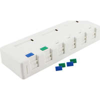 Excel Category 5e Plus Surface Mount Box - 6 Port - White
