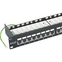 Excel Category 6 Screened Patch Panel - 24-port, Right-angled, 1U - Black