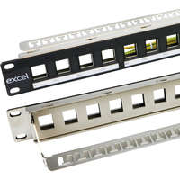 Excel Unloaded Keystone Patch Panel Frame - 16-port, 1U - Black