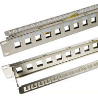 Excel Unloaded Keystone Patch Panel Frame - 16-port, 1U - Chrome