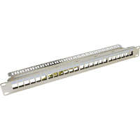 Excel Unloaded Keystone Patch Panel Frame - 24-port, 1U - Chrome