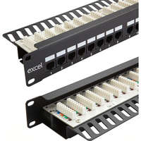 Excel Category 6 Unscreened Patch Panel - 24-port, Right-angled, 1U - Black