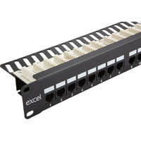 Excel Category 5e Unscreened Patch Panel - 24-port, Right-angled, 1U - Black