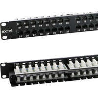 Excel Category 6 Unscreened Patch Panel - 48 Port, Right-angled, 1U - Black
