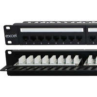 Excel Plus Category 5e Unscreened Patch Panel - 24-port, Right-angled, 1U - Black