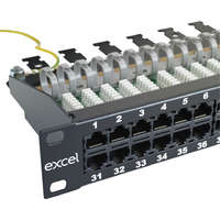 Excel Voice RJ45 Patch Panel - 50-port, 3-pair, 1U - Black