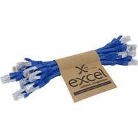 Excel Category 6A Patch Lead S/FTP Shielded LS0H Blade Booted 215mm - Blue (10-pack)