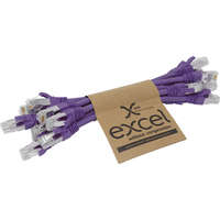 Excel Category 6A Patch Lead F/FTP Shielded LS0H Blade Booted 215mm - Violet (10-pack)