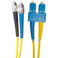 Enbeam OS2 Fibre Optic Patch Lead FC-SC Singlemode 9/125 Duplex LS0H Yellow 1m