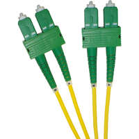 Enbeam OS2 Fibre Optic Patch Lead SC/APC-SC/APC Singlemode 9/125 Duplex LS0H Yellow 3m