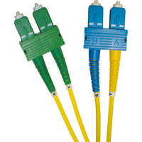Enbeam OS2 Fibre Optic Patch Lead SC/APC-SC/UPC Singlemode 9/125 Duplex LS0H Yellow 2m