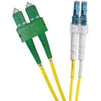 Enbeam OS2 Fibre Optic Patch Lead SC/APC-LC/UPC Singlemode 9/125 Duplex LS0H Yellow 3m