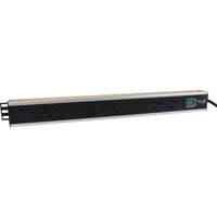 Excel 8-way Horizontal PDU - 8x  UK sockets, 16A IEC 60309 plug - Switched