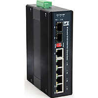 6-Port Gigabit PoE Industrial Switch, 802.3at/af PoE, 4 PoE Outputs, 1 x SFP, 1 x SFP/RJ45 Combo, DIN-Rail, -40°C to 75°C, 126W, voltage booster