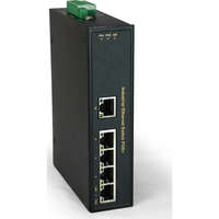 5-Port Fast Ethernet PoE Industrial Switch, 4 PoE Outputs, 802.3at/af PoE, 126W, -40°C to 75°C