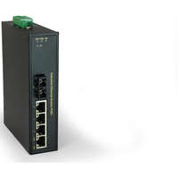5-Port Fast Ethernet PoE Industrial Switch, 4 PoE Outputs, 802.3at/af PoE, 1 x SC Multi-Mode Fiber, 2km, 126W, -40°C to 75°C