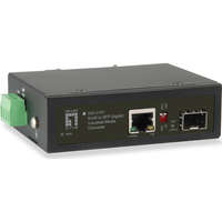 RJ45 to SFP Gigabit Industrial Media Converter, 1 PoE Output