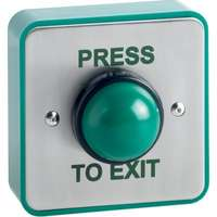 Weatherproof surface mount green dome exit button with finger guard and green back box