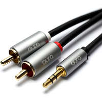 aura 3.5mm Jack to Phono Audio Cable 1Mtr 2x RCA Gold Plated Male-Male